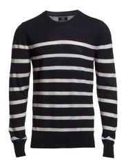 Fine Stripe Italian Knit Kerni - Navy/Ecru