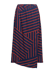 Viscose Stripe Silvana - NAVY/RED