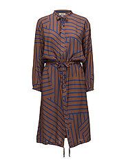Viscose Stripe Sacca cuff - MID BROWN/BLUE