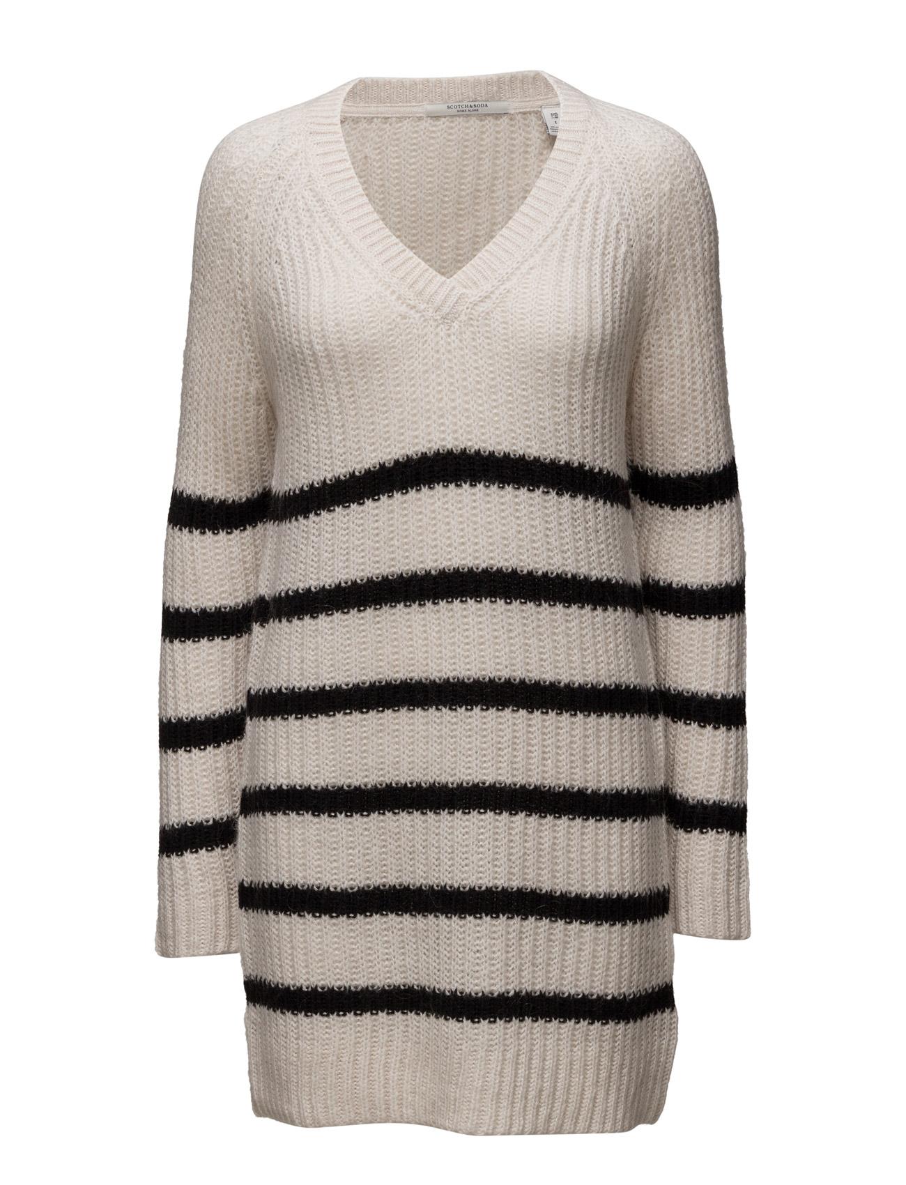 Home Alone Oversized V-Neck Hairy Striped Knit Scotch & Soda Sweatshirts til Damer i