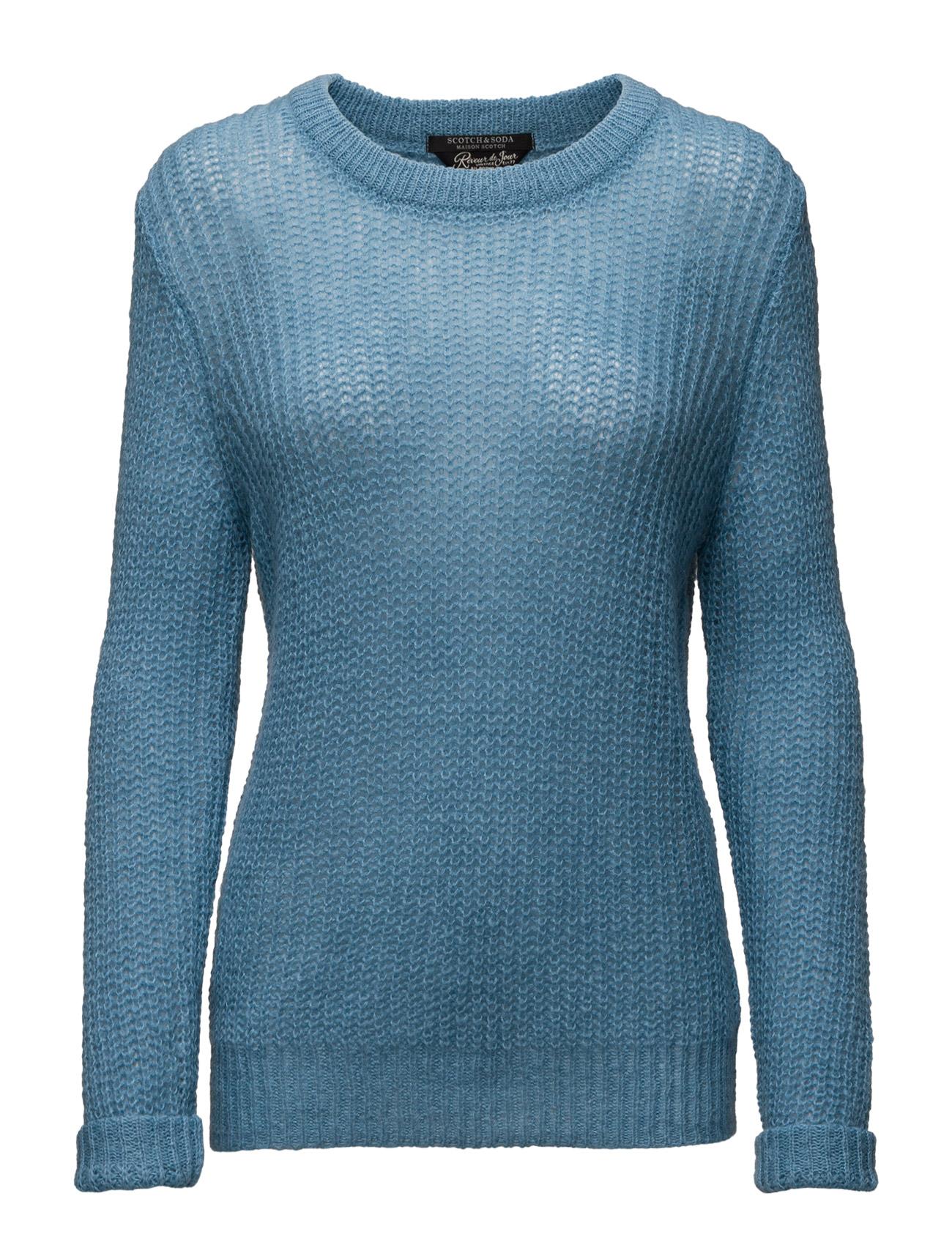 Fluffy Crew Neck Pullover Knit Maison Scotch Sweatshirts til Kvinder i