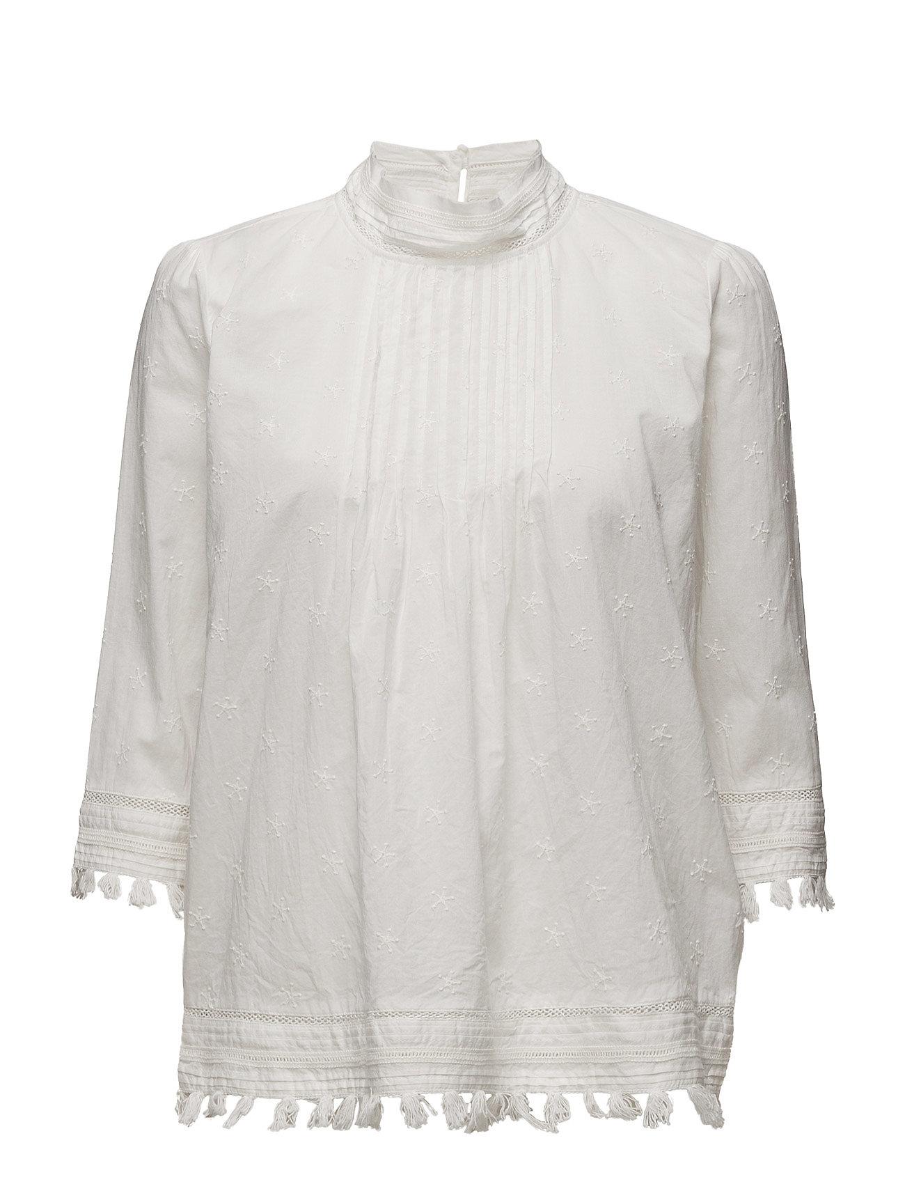 3/4 Sleeve Woven Top With Embroidered Star Allover Maison Scotch Langærmede til Kvinder i Off White