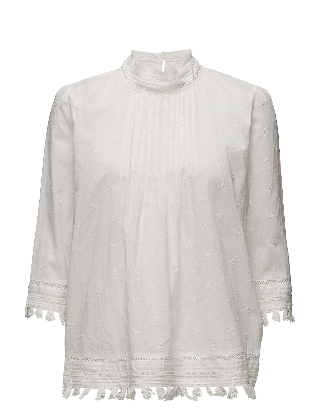 3/4 Sleeve Woven Top With Embroidered Star Allover Scotch & Soda Langærmede til Damer i Off White