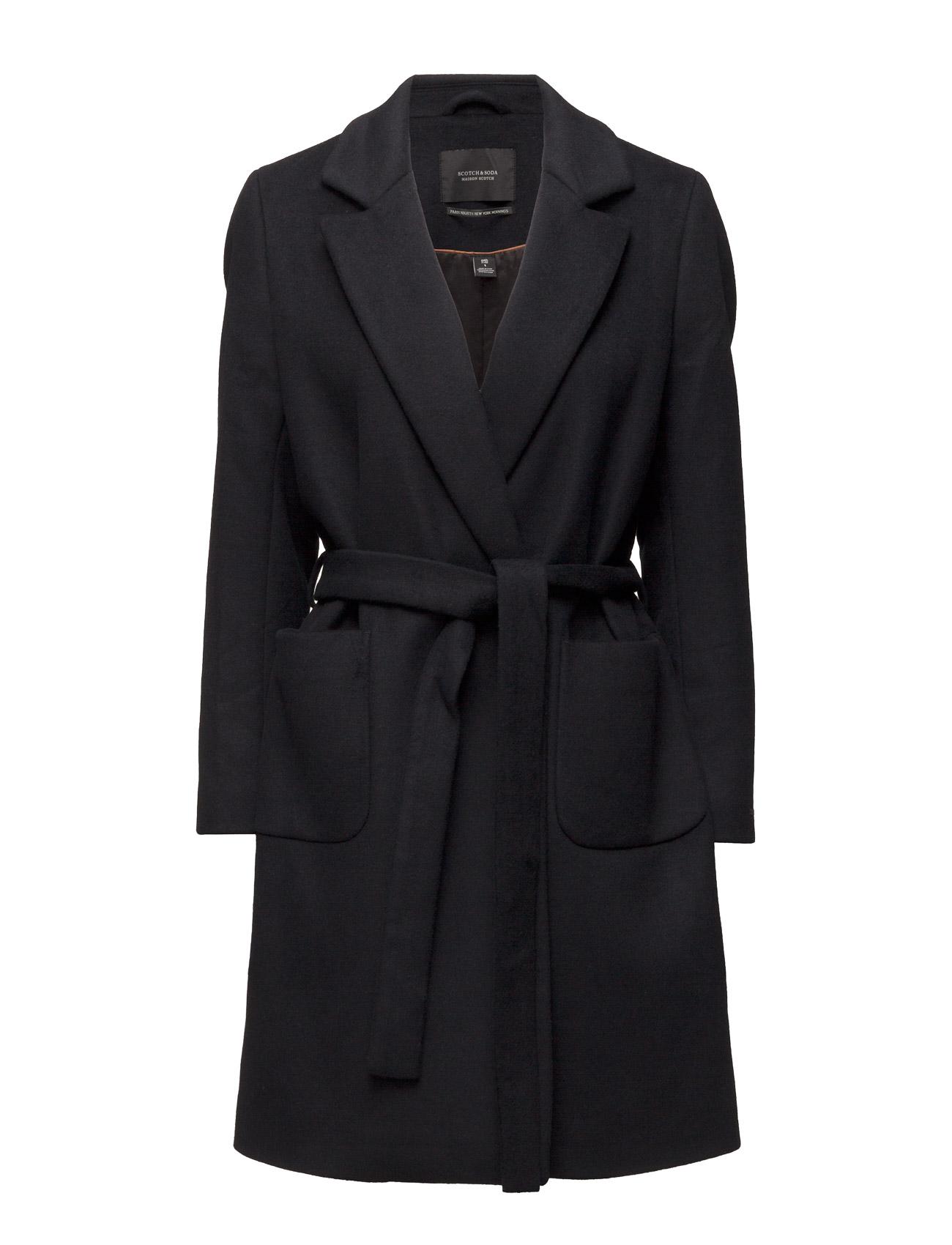 Wrap Over Coat In Soft Wool Blend Qualit Maison Scotch Frakker til Kvinder i 7D Havregryn Melange