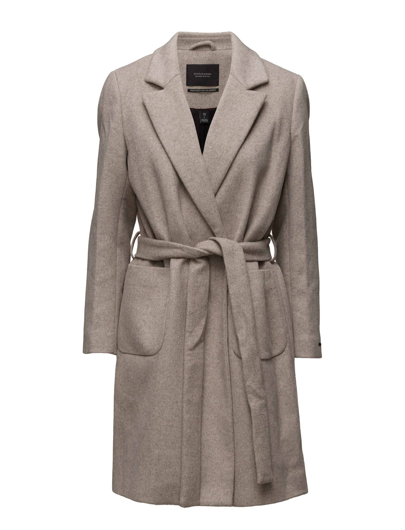 Wrap Over Coat In Soft Wool Blend Qualit Scotch & Soda Frakker til Damer i 7D Havregryn Melange