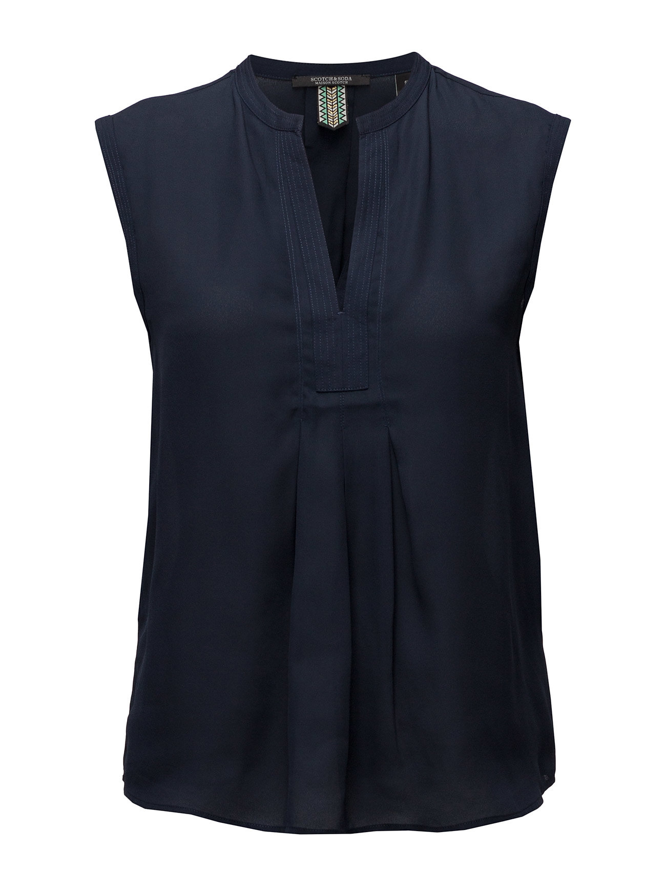 Silky Feel V-Neck Sleeveless Top With Pleat Details