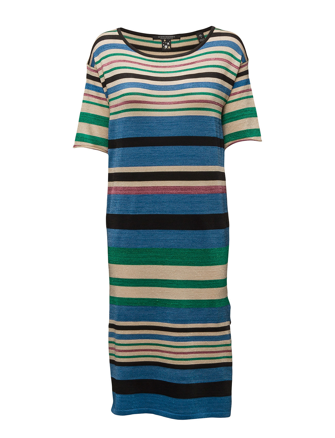 Midi Length Knit Dress In Bold Lurex Stripe Scotch & Soda Knælange & mellemlange til Damer i Combo A