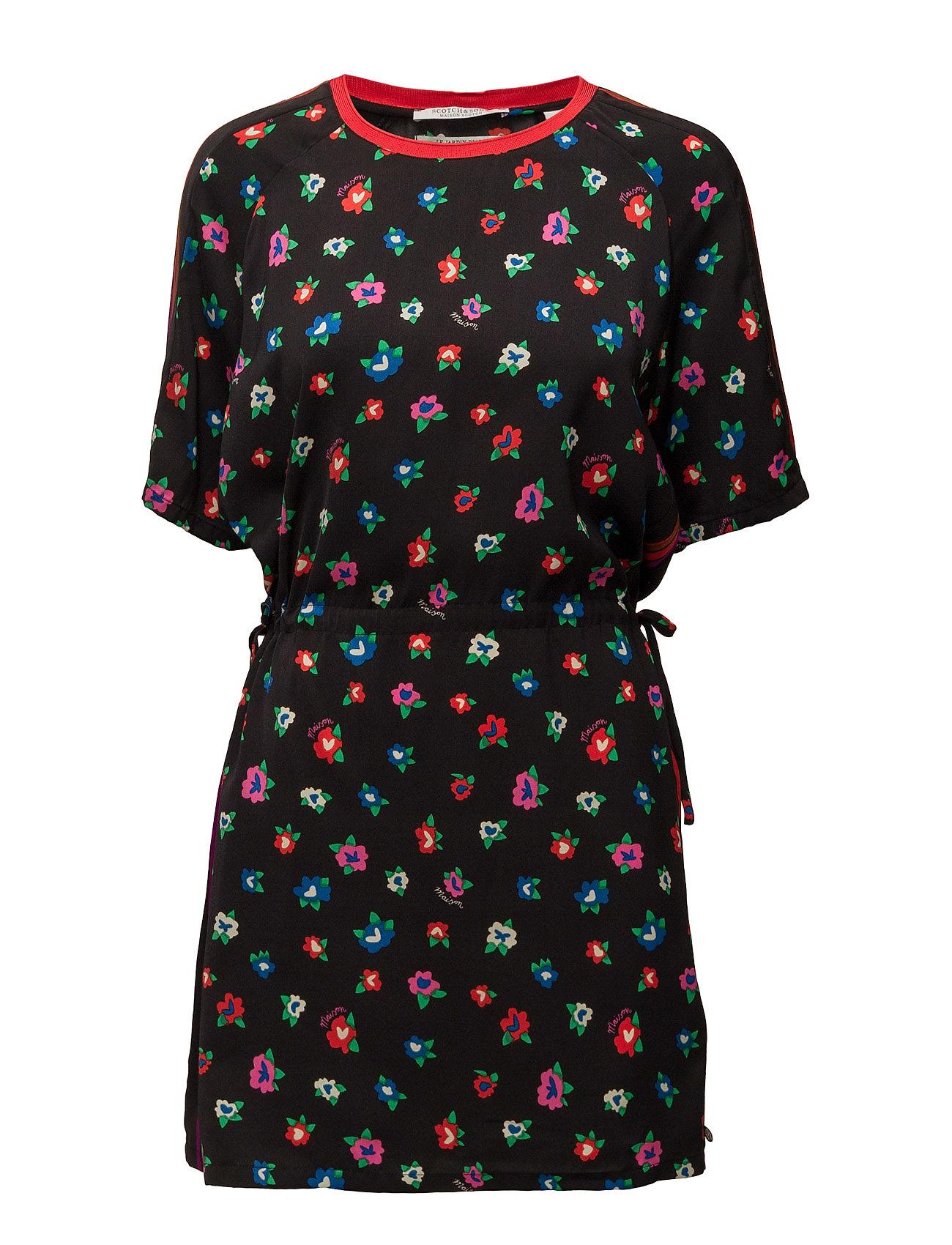 18d61880735625 Silky Feel Dress With Placement Prints And Tie Detail Scotch   Soda Korte  kjoler til Damer