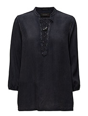 Drapy woven top with lace closure. - BLACK 8