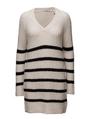 Home Alone oversized v-neck hairy striped knit - COMBO A 17