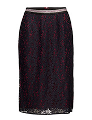 Lace pencil skirt with contrast lining - 18 COMBO B