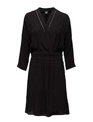 Drapey viscose wrapover dress - 8 BLACK