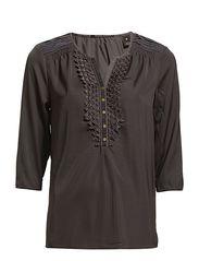 Silky feel ruffle top with velvet detail - 95 - antra