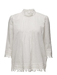 3/4 sleeve woven top with embroidered star allover - OFF WHITE