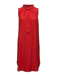 Sleeveless dress with ruffle neckline and ruffle inserts - CHILLI RED