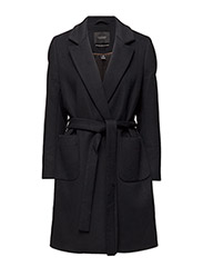 Wrap over coat in soft wool blend qualit - 4 NAVY