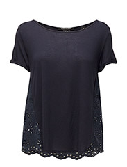 Short sleeve tee with embroidered woven - 4 NAVY