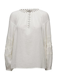 Sheer cotton tunic top with special embroideries - OFF WHITE