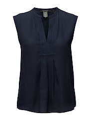 Scotch  &  Soda - Silky Feel V-Neck Sleeveless Top With Pleat Details