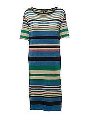 Midi length knit dress in bold lurex stripe - COMBO A