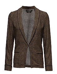 Basic printed drapey blazer with contrast piping - COMBO E
