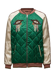 Reversible relaxed fit bomber jacket with embroideries - COMBO A