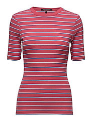 Short sleeve striped rib tee with higher neckline - COMBO A