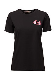 Straight fit tee with embroidered placement artworks - BLACK
