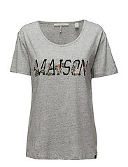 Short sleeve logo tee with embroideries - GREY MELANGE