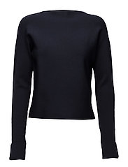 Sporty ribbed knit with high tunnel neck - NIGHT
