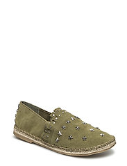 Leather or suede espadrilles with studs - ARMY