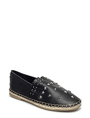 Leather or suede espadrilles with studs - BLACK