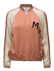 Colourblocked satin bomber jacket with chest badge - COMBO B