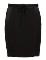 Pencil skirt with satin side panels and velvet bow - 90 black