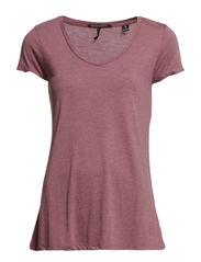 Basic short sleeve v-neck tee - 440 vintage grape mel