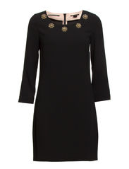 Chic party dress with star embellishment around the neckline - 90 black