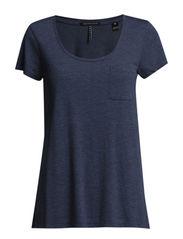 Basic short sleeve crew neck - navy melange - 570