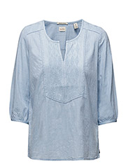 3/4 sleeve refined tunic top with embroidery - sky blue - 43