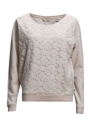 Long sleeve sweat with lace panel - blossom mel  - 370