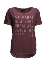 Boxy fit travel theme tee - washed grape mel - 660