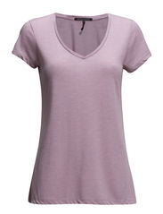 Basic short sleeve v-neck tee - light violet mel  - 110
