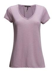 Basic short sleeve v-neck tee - light violet mel  - 110
