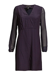 Silky feel v-neck dress with sheer sleeves - COMBO A A
