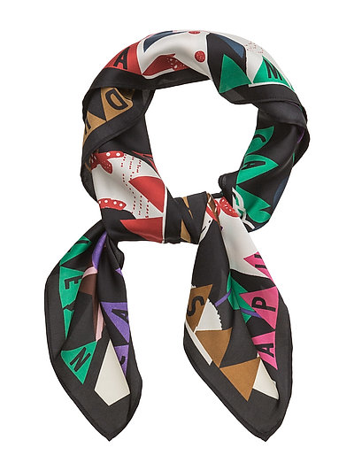 Silky Feel Scarf With Placement Prints