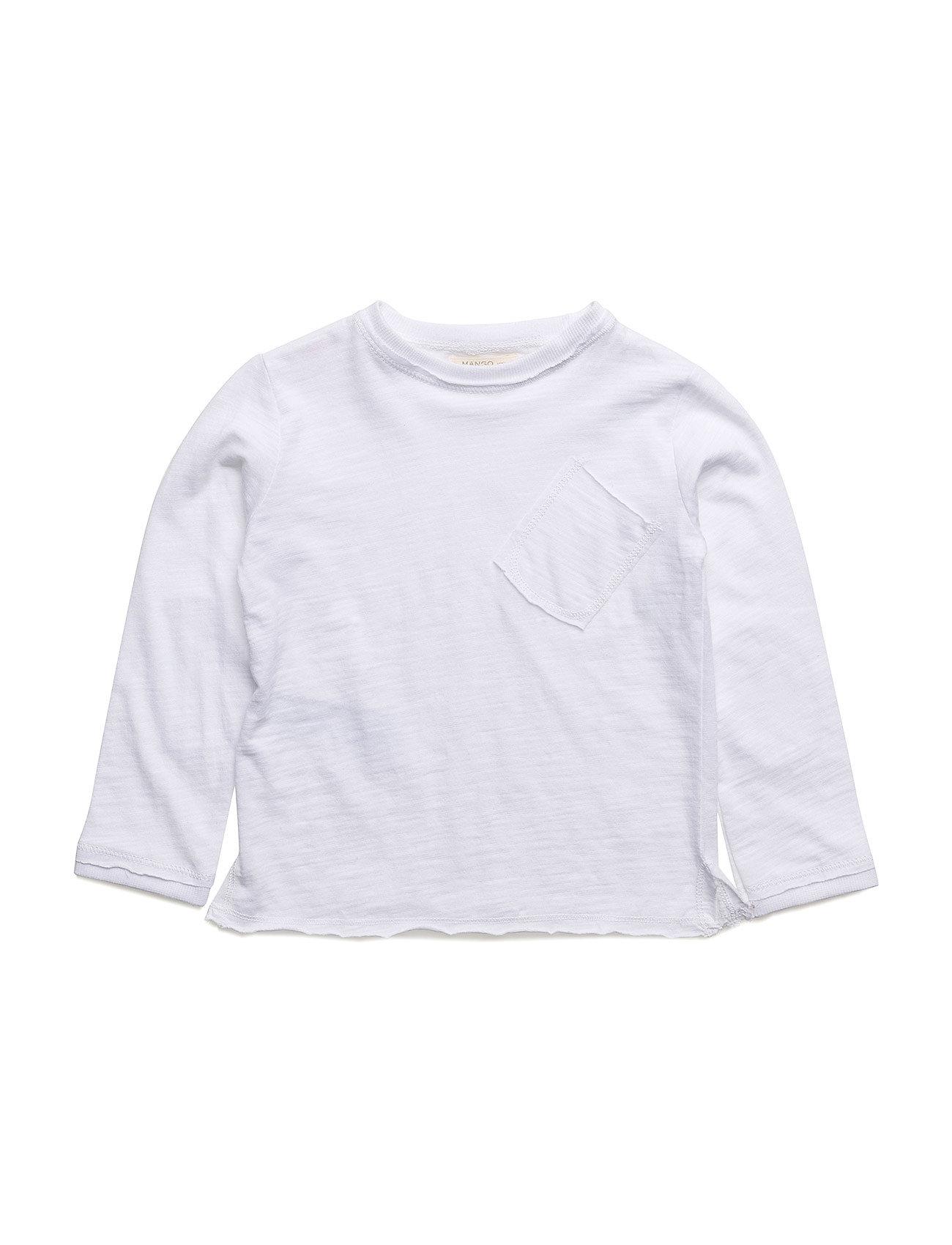Pocket Cotton T-Shirt Mango Kids Langærmede t-shirts til Børn i hvid