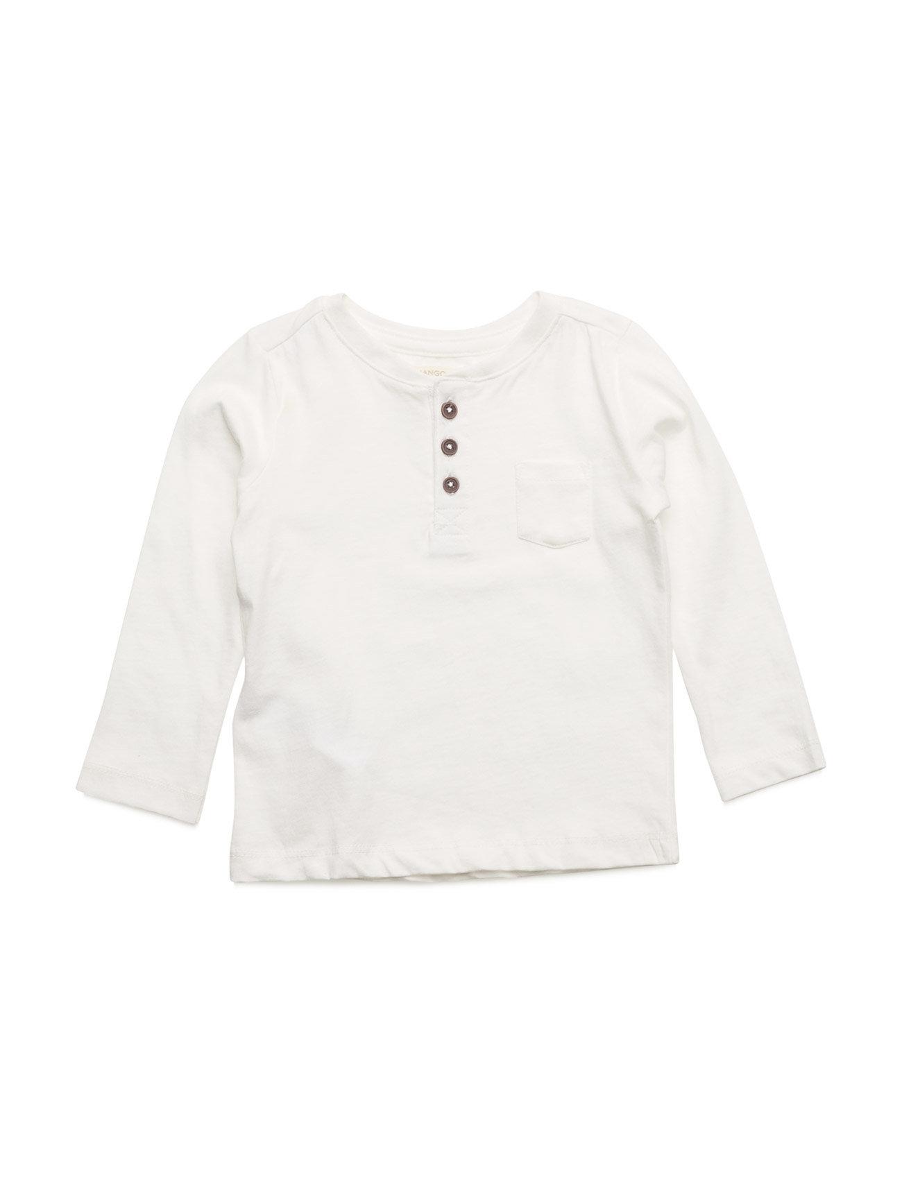 Henley Cotton T-Shirt Mango Kids Langærmede t-shirts til Børn i Natural White