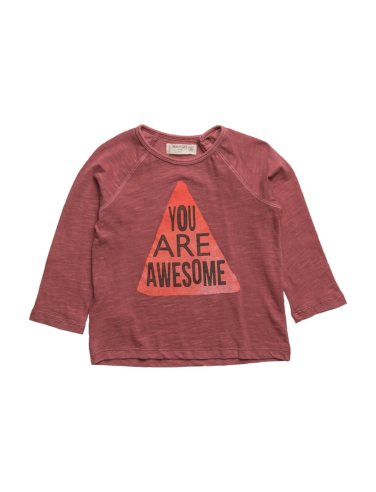 Message Cotton T-Shirt Mango Kids Langærmede t-shirts til Børn i Medium Orange