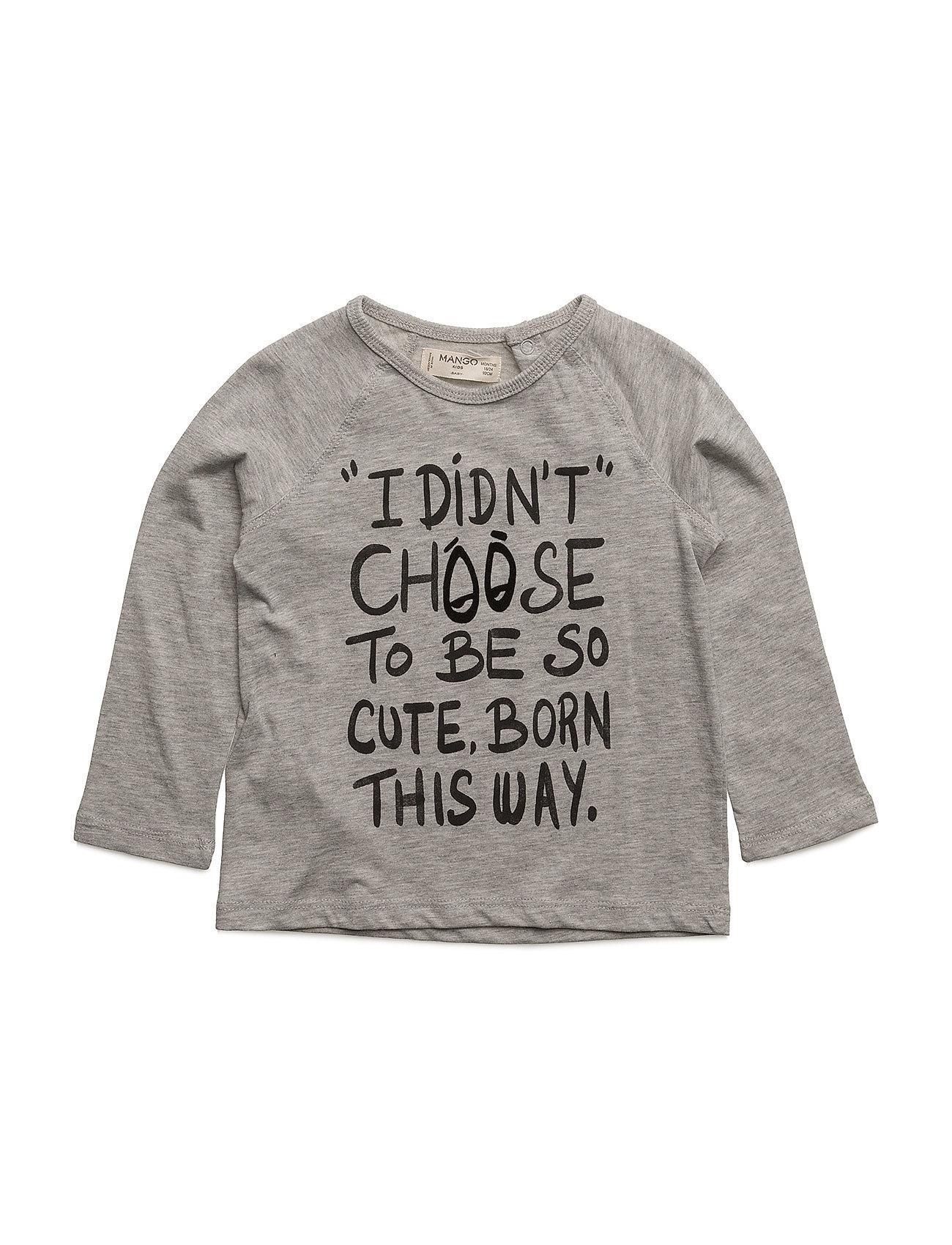 Message Cotton T-Shirt Mango Kids Langærmede t-shirts til Børn i Mørkegrå