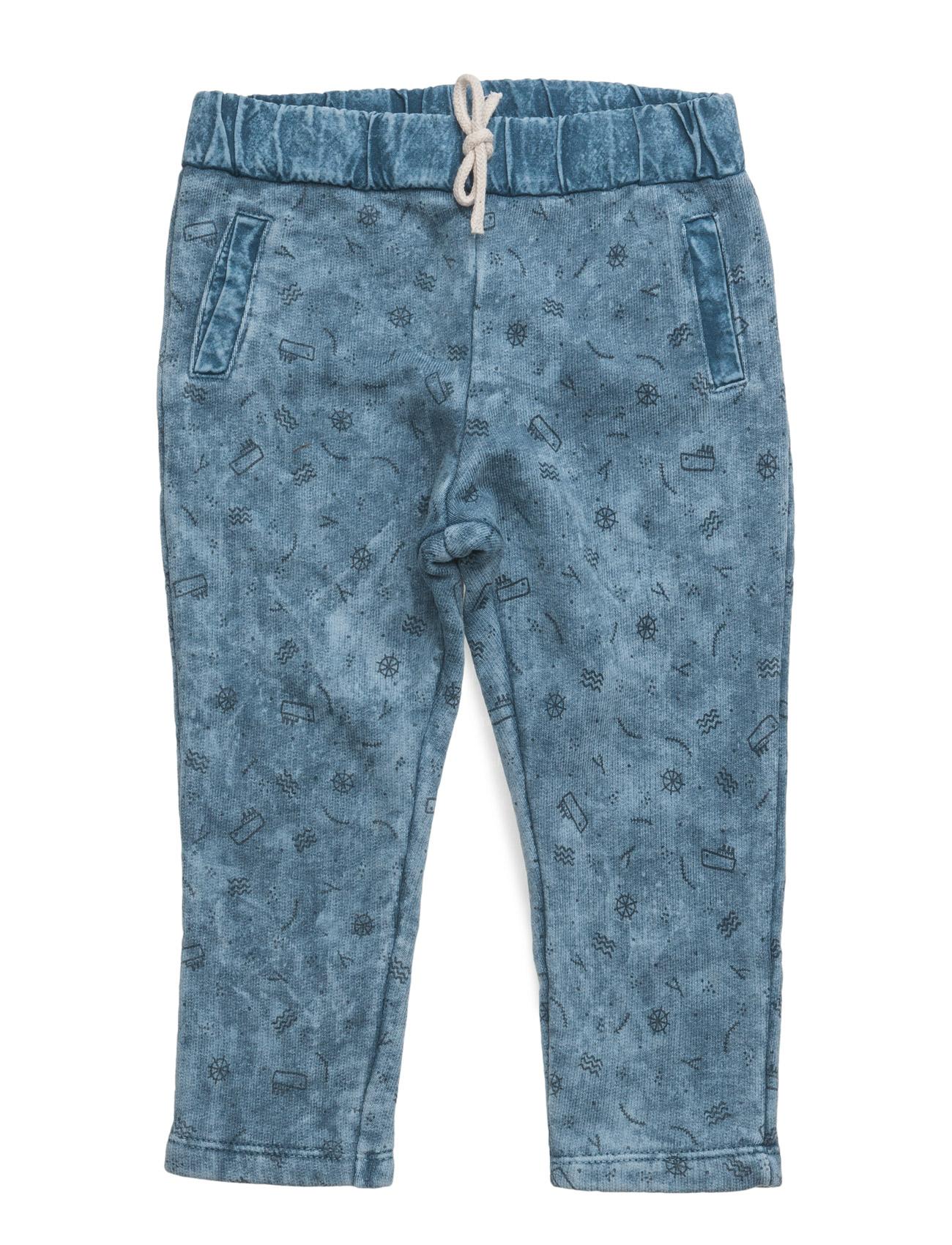 Washed Cotton-Blend Trousers Mango Kids  til Børn i Medium Blå