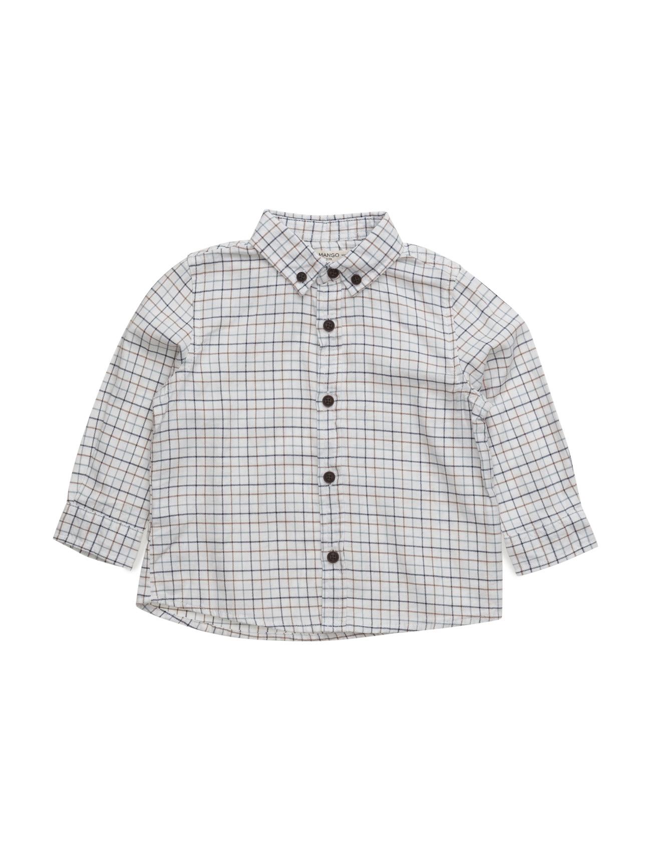 Check Cotton Shirt Mango Kids  til Børn i Medium Brown